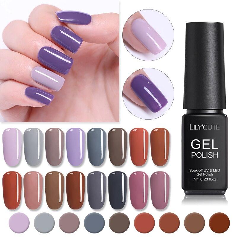 LILYCUTE  7ML UV Nail Gel Polish Long Lasting Soak Off LED UV Nail Gel Semi Permanent Nail Gel DIY Nail Art Gel Varnish