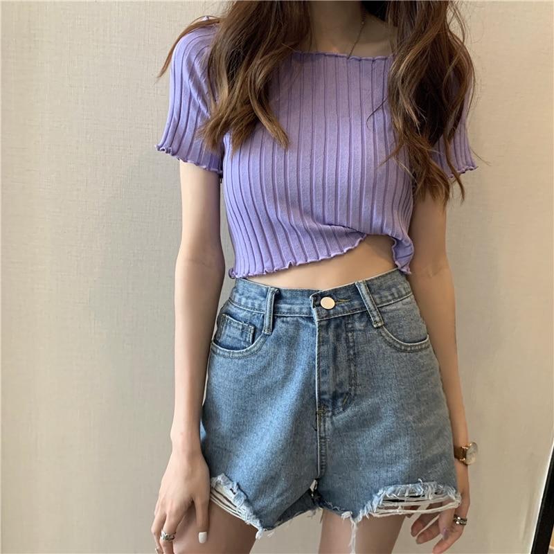 HELIAR Women T-shirts Off Shoulder Knitting Crop Tops Women Short Sleeve Stretchy Ruffles Hem T-shirts Stripes Tops For Women 2