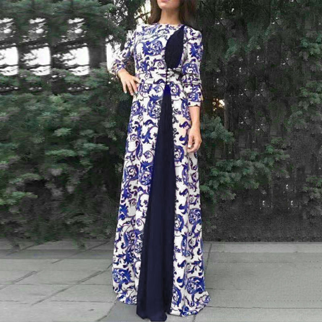 Print Maxi Dress Knitted Muslim Abaya Muslim Women's Abaya