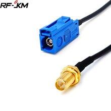Rp sma fêmea para fakra c tipo adaptador plug para gps antena cabo de extensão rg174 trança