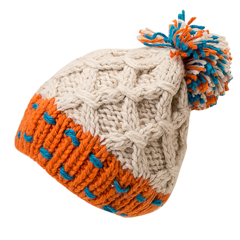 Fashion Women Cute Patchwork Thermal Woolen Hat Knitted Hat Bucket Hat Cap Colorful Winter Accessories 30DE22 (5)