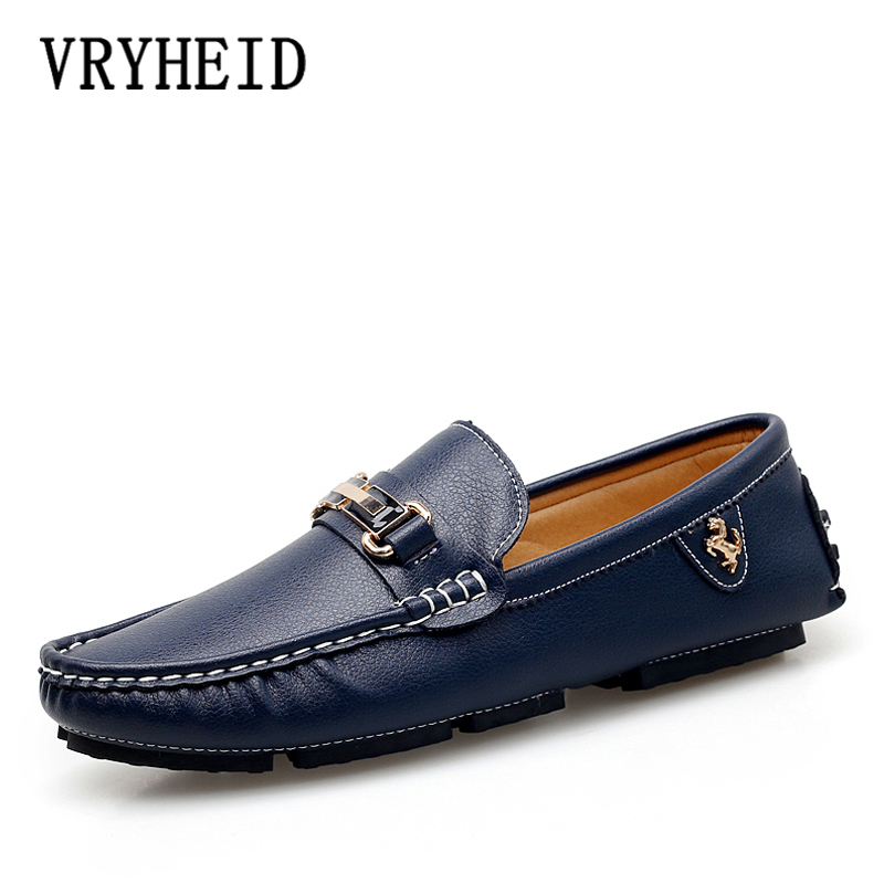 VRYHEID Men Casual Leather Shoes Luxury Brand 2020 Mens Soft Moccasins Loafers Breathable Slip On Driving Shoes Big Size 38 47