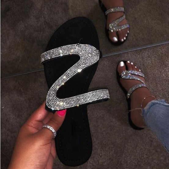 Sıcak satış kadın terlik Flip flop yaz kadın kristal elmas Bling plaj slayt sandalet rahat ayakkabılar terlik üzerinde kayma