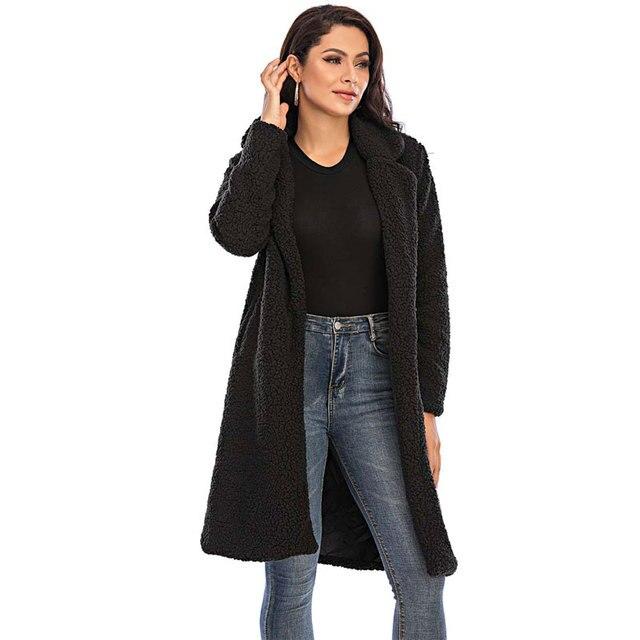 2020 automne Long hiver manteau femme fausse fourrure manteau femmes chaud dames fourrure Teddy veste femme en peluche Teddy manteau grande taille Outwear 6