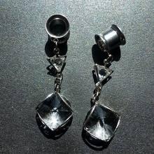 2 pçs único balançar túneis de vidro e plugues calibres brincos stretchers piercing expansor plug orelha expansores corpo jóias reamer