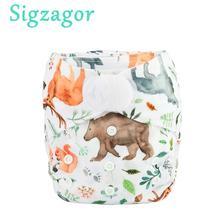 [Sigzagor]5 Baby Pocket Cloth Diapers Nappies Hook Loop Wide Waist Stripe Tabs