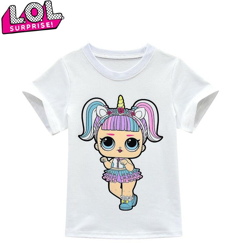 LOL Surprises Dolls New T-shirt Children's Short Sleeve Girl Doll Unicorn Cartoon Printing Pattern Birthday Party Gift Girl