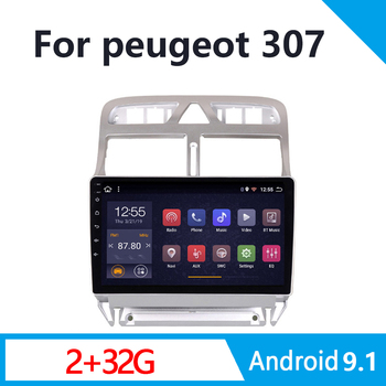 autoradio 2din Android 9.1 car multimedia player for Peugeot 307 307CC 307SW 2002-2013 car radio GPS navigation WiFi Bluetooth image