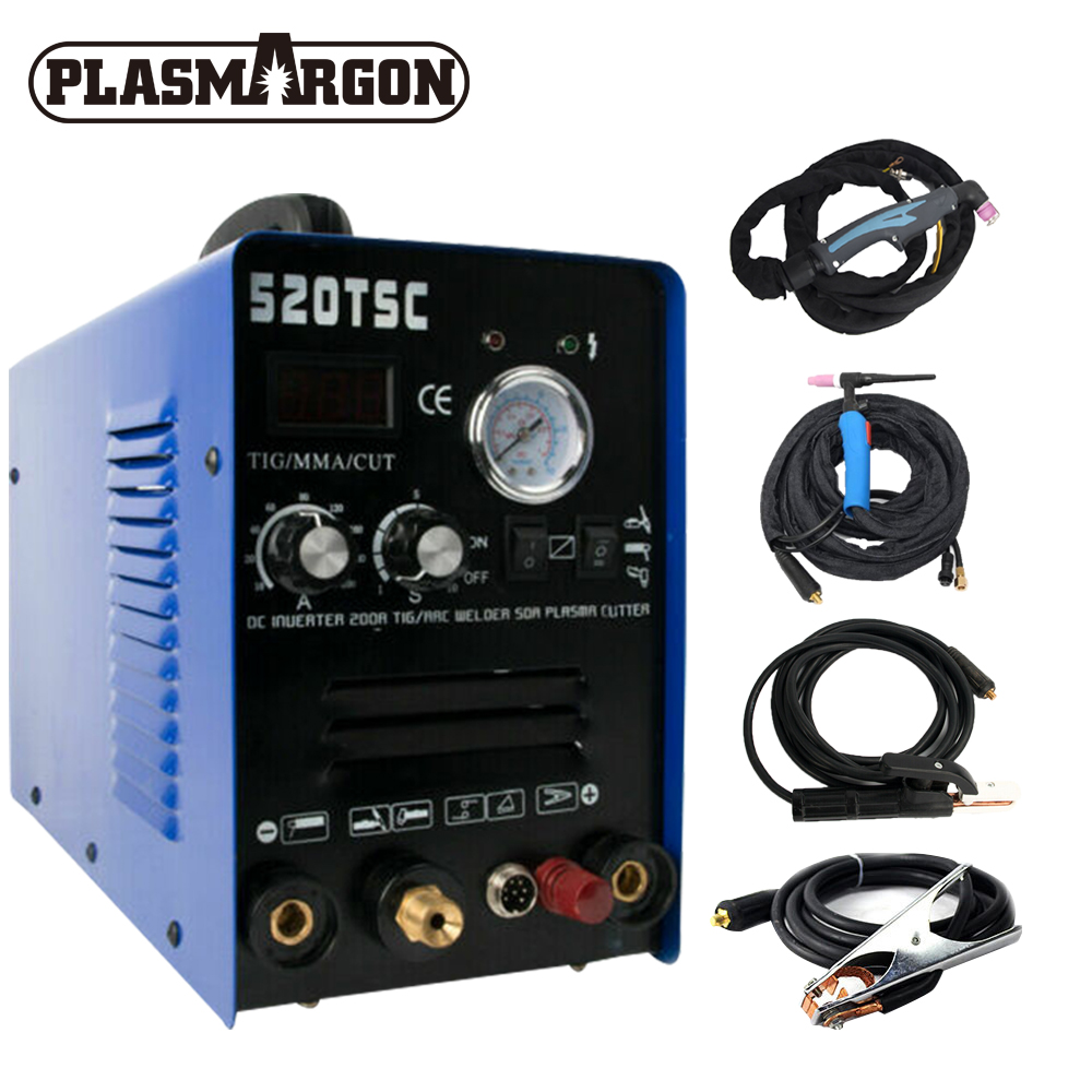 520TSCF Pilot Arc 50A Air Plasma Cutter /200A Tig/Stick Welder TIG CUT MMA 3 IN 1 Multifunction Welding Machine With Consumables