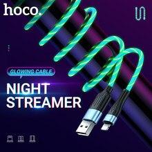 Hoco leucht lade daten kabel für lightning micro usb typ-c usbc bunte led LICHT streamer draht ladegerät schnur beleuchtet