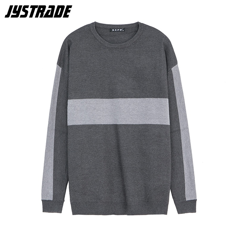 Striped Oversized Harajuku Sweater Mens Winter Gray Knitted Sweater Large Sport Coat Autumn Streetwear Male Long Sleeve Pullover