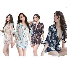 Sexy Ink Chiffon Print Kimono Lingerie Pajamas Low Cut Out Translucent Nightgown Home Clothes Suit Sleepwear draimior sexy lingerie woman babydolls fancy embroidery pajamas and panties chiffon sleepwear nightgown dr0018