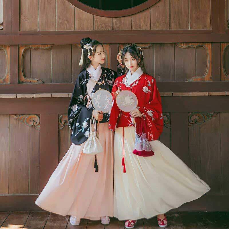 NiceMix Oriental Women's Hanfu Women's Traditional Printed Skirt Pipa Daily Autumn And Winter Chinese Style Dance Clothes