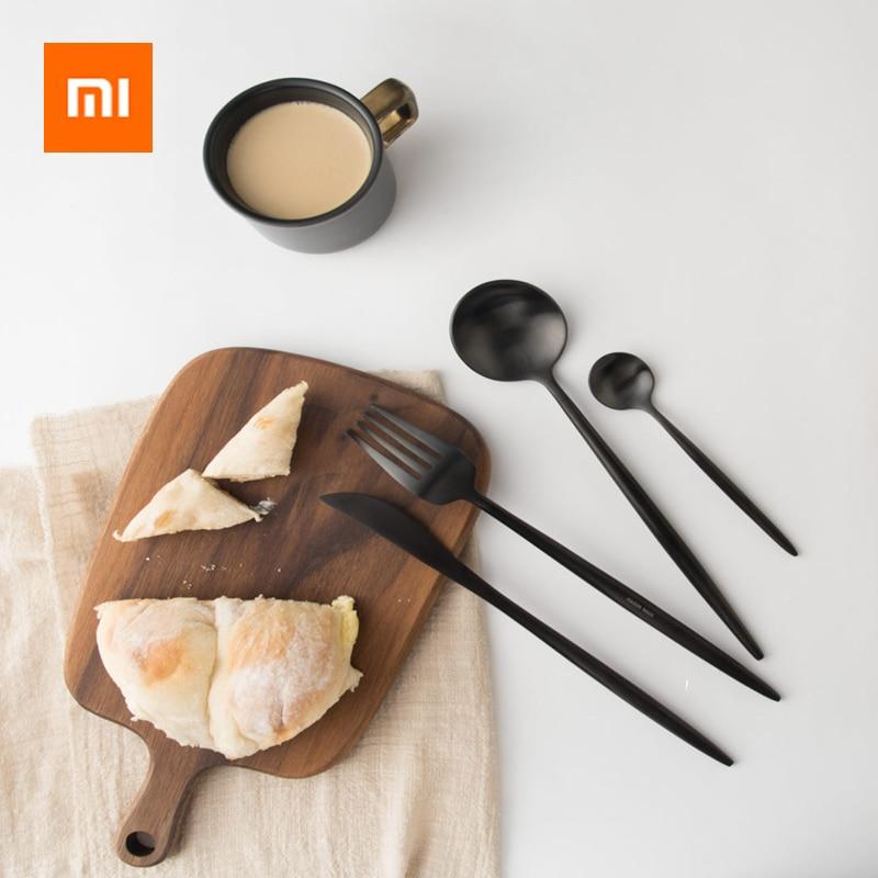 Hot Xiaomi Stainless Steel Fork Knife Spoon Tableware Set Cutlery Steak Knife Fruit Dessert Fork Tea Spoon Kitchen Dinnerware