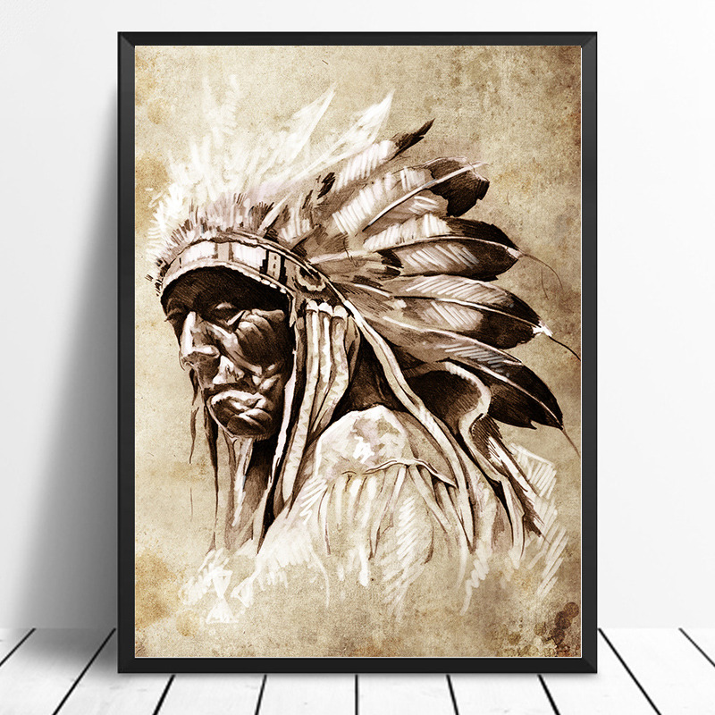 Black & White American Native Indian Portrait Painting Canvas Posters Prints Scandinavian Wall Art Picture for Living Room Decor(China)