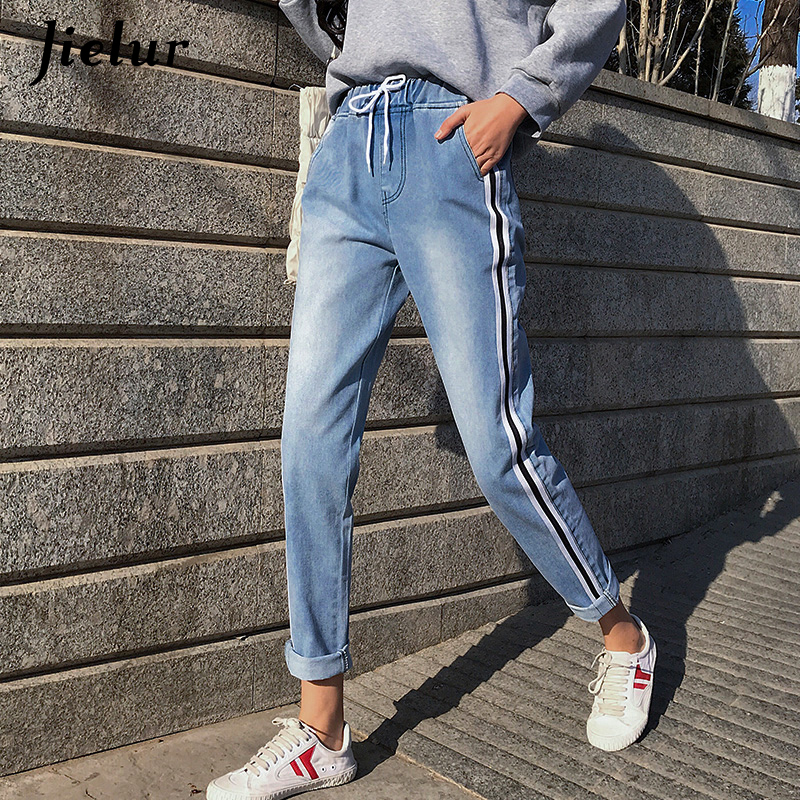 Jielur Jeans Woman Stripe High Waist Jeans S-5XL Pantalon Mom Jean Femme 2020 Korean Style Blue Elastic Waist Slim Dropshipping