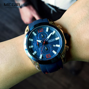 Image 3 - Megir גברים של הכרונוגרף קוורץ שעונים יוקרה עמיד למים שעוני יד למעלה מותג צבאי ספורט שעון גברים Relogios Masculino 2063