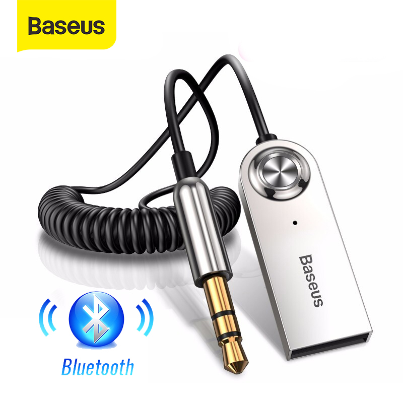 Baseus AUX Bluetooth Adapter Car 3.5mm Jack Dongle Cable Handfree Car Kit Audio Transmitter Auto Bluetooth 5.0 Receiver(China)