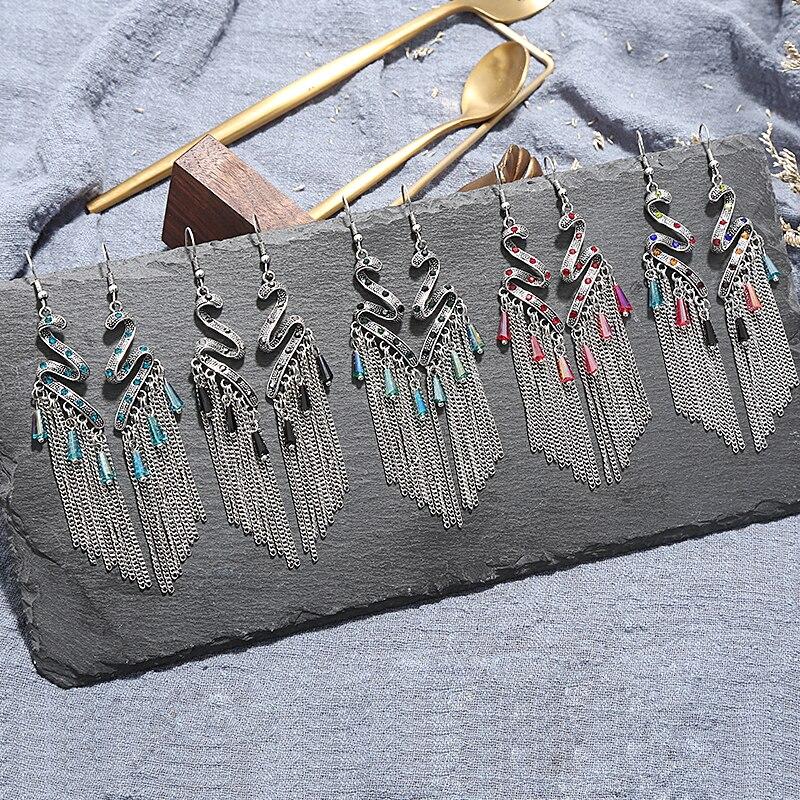 2020 Bohemian Drop Earrings Women Ethnic Silver Color Long Hanging Dangle Earrings for Women Boho Ethiopia Earring Jewelry