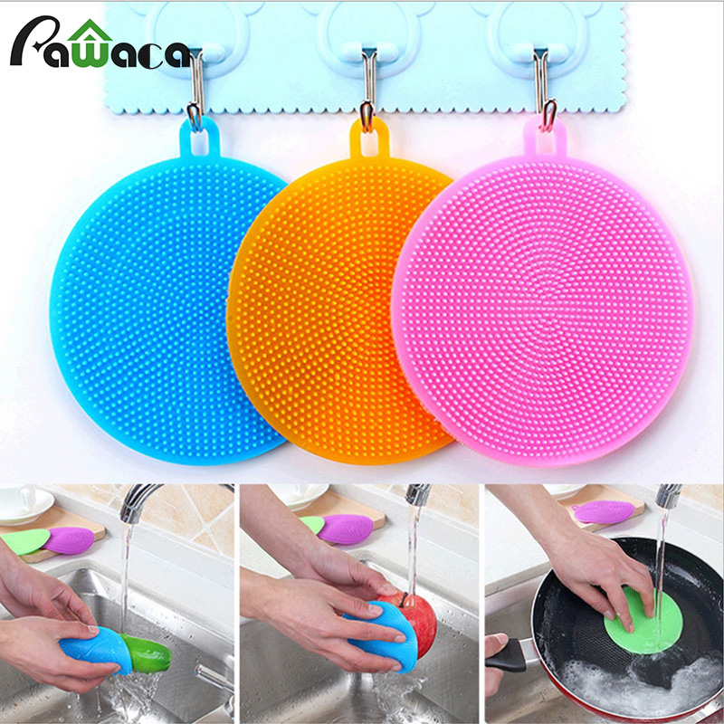 1set(6 Pcs)Silicone Sponge, Silicone Scrubber Kitchen Anti-Bacterial Sponge Multicolor For Cleaning Vegetable Kitchen Utensils