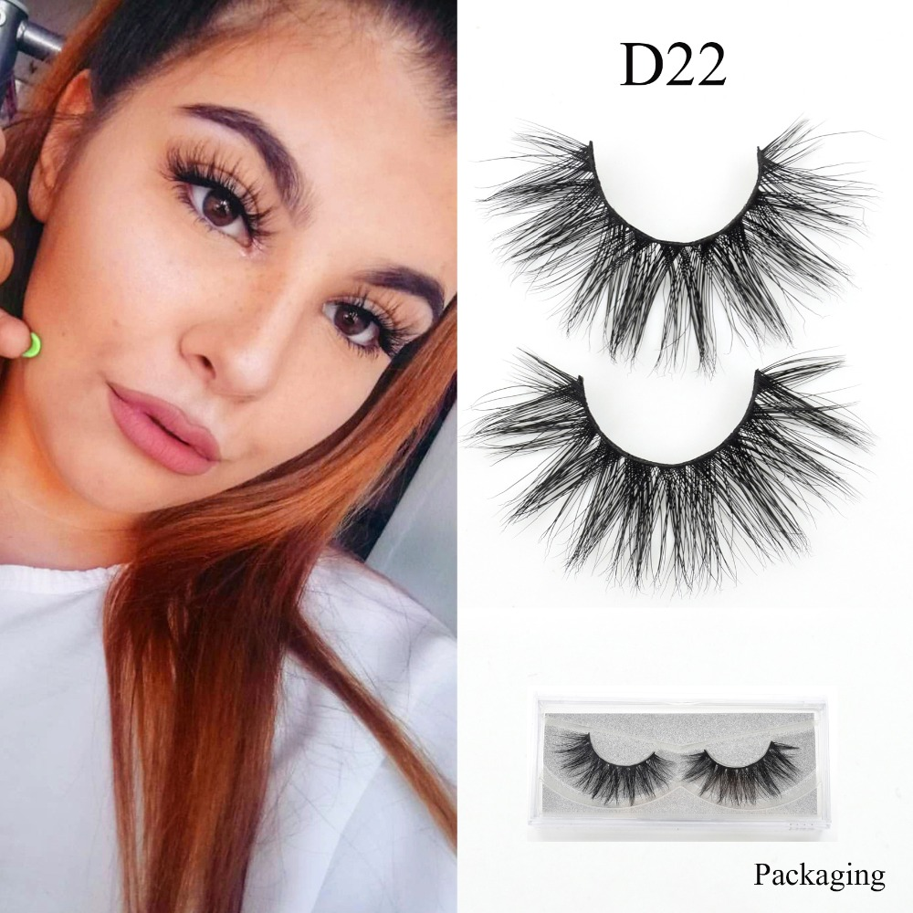 Visofree Mink Eyelashes Handmade  False Lashes Reusable False Eyelashes Cilios Thick 3D Mink Lashes Maquiagem Makeup D22