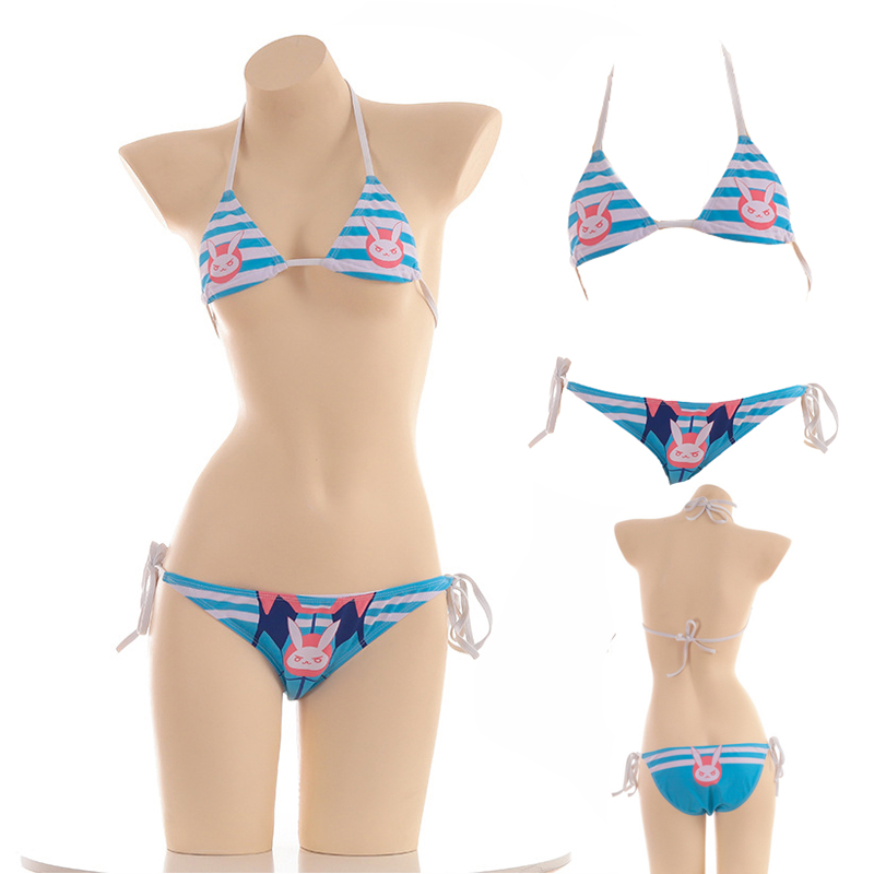 Overwatch Dva cosplay Sexy Cute Micro Bikini D. Go Costumes Japanese Anime Bra and Panty Set Cosplay Thong Bikini Blue Swimsuit 1