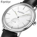 Мужские кварцевые часы Fantor  роскошные деловые часы с кожаным ремешком  повседневные светящиеся классические часы  модные кварцевые наручны...