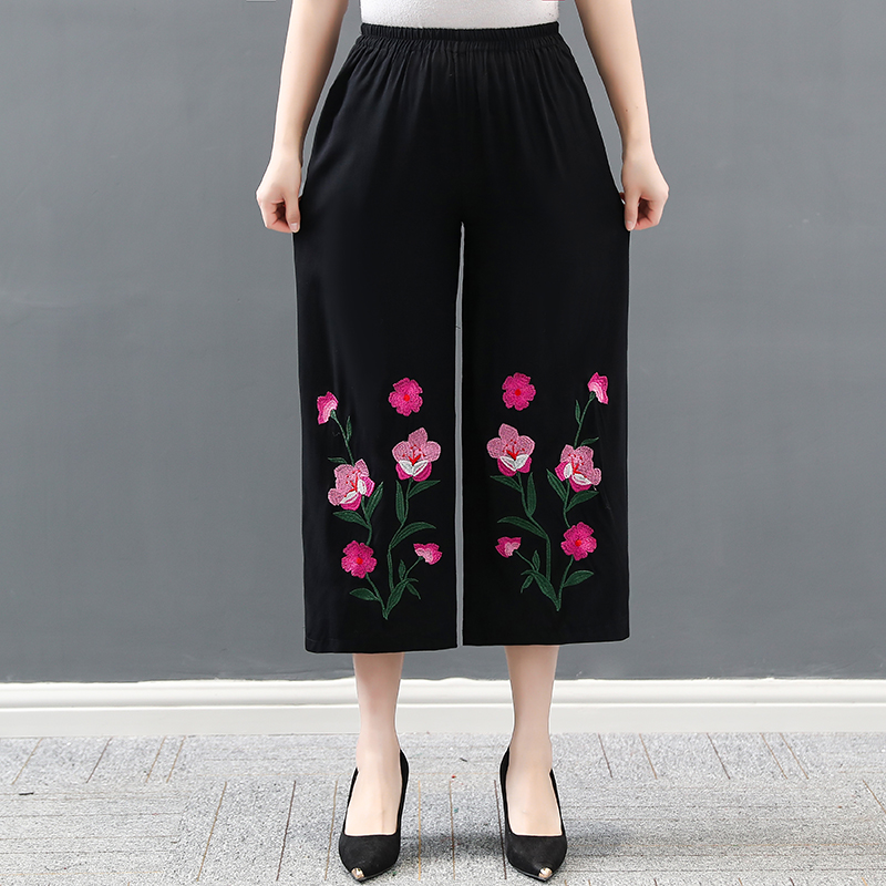 Cotton Linen Women Casual Pants 2019 Fashion Loose Elastic Waist Straight Floral Embroidery Capris Trousers Harem Pants Black