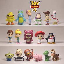 Figuras de acción de Disney Toy Story 4, Woody, Buzz Lightyear, 3-5cm, 17 unidades/set Q, mini muñecas de juguete para niños, modelo para regalo
