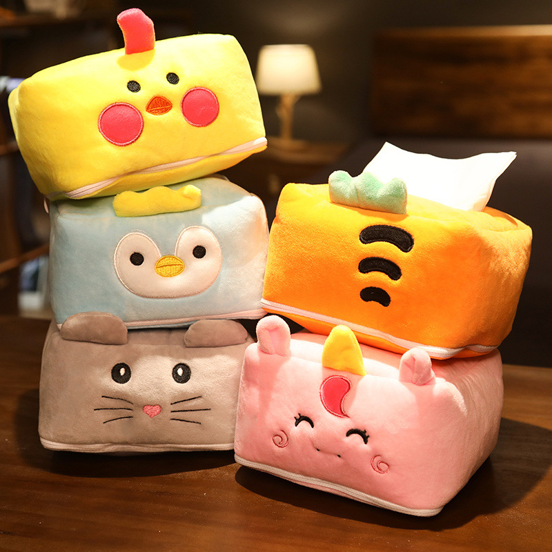 Cartoon Car Tissue Box Cute Plush Animal Toys On Many Occasions Paper Towels Boxes Fashion Interior Decoration Accessories