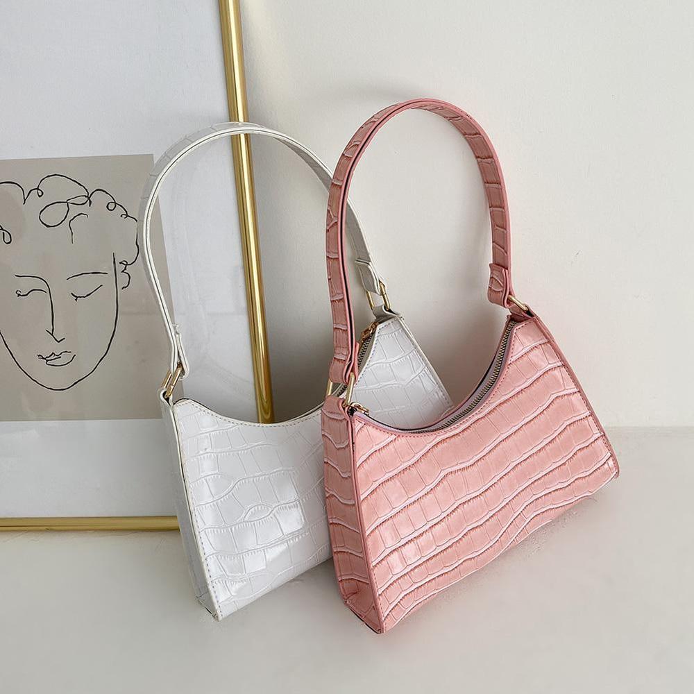 Mode Exquisite Einkaufstasche Retro Casual Frauen Totes Schulter Taschen Weibliche Leder Einfarbig Kette Handtasche für Frauen 2020