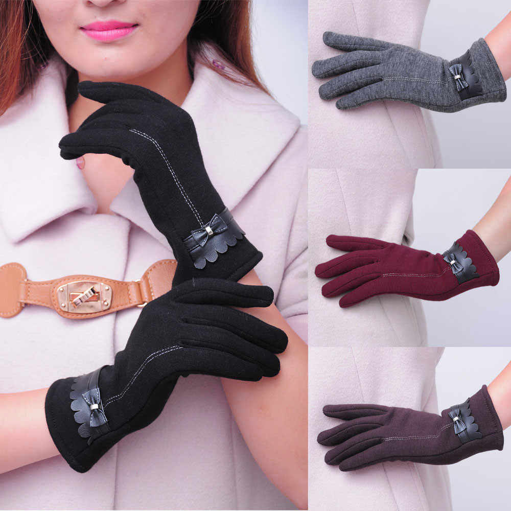 Women Femme Touch Screen Warm Glove Fashion  lovely Bowknot Winter Warm full finger Gloves Mittens super quality guantes mujer