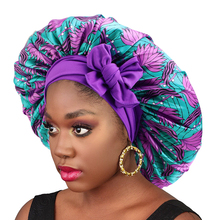 Extra Large Satin Sleeping Cap Hair Bonnet For Women African Pattern Long Tail Cap Wide Stretchy Band Bonnets Hat Head Cover