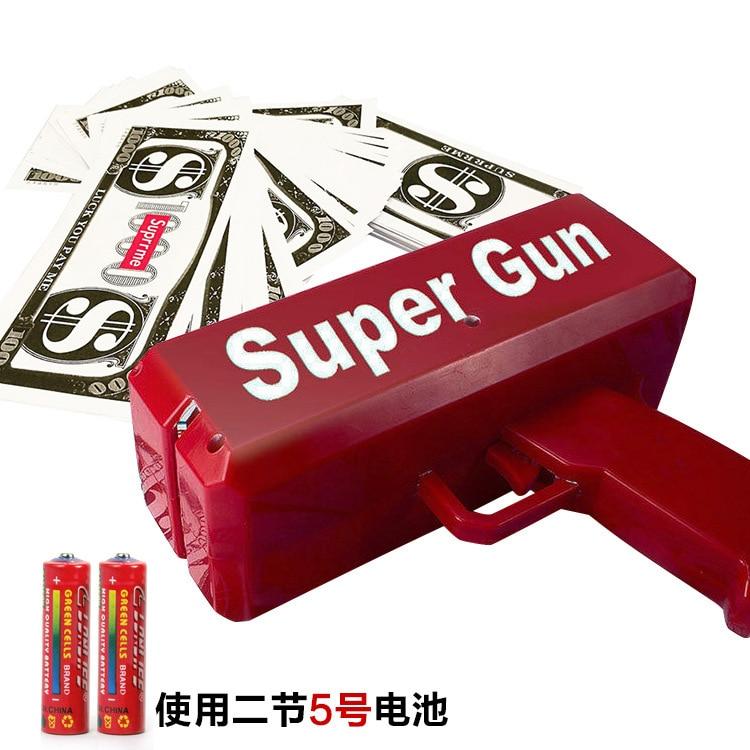 Novelty Money Gun Banknote Money Shooting Spit Money Spray Money Grab Children Spreading Money Machine American Dollars Toy