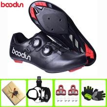 цена BOODUN Men Cycling Shoes sapatilha ciclismo Women Ultralight Self-Locking Road Bike Bicycle Racing Athletic Road Bike Shoes онлайн в 2017 году