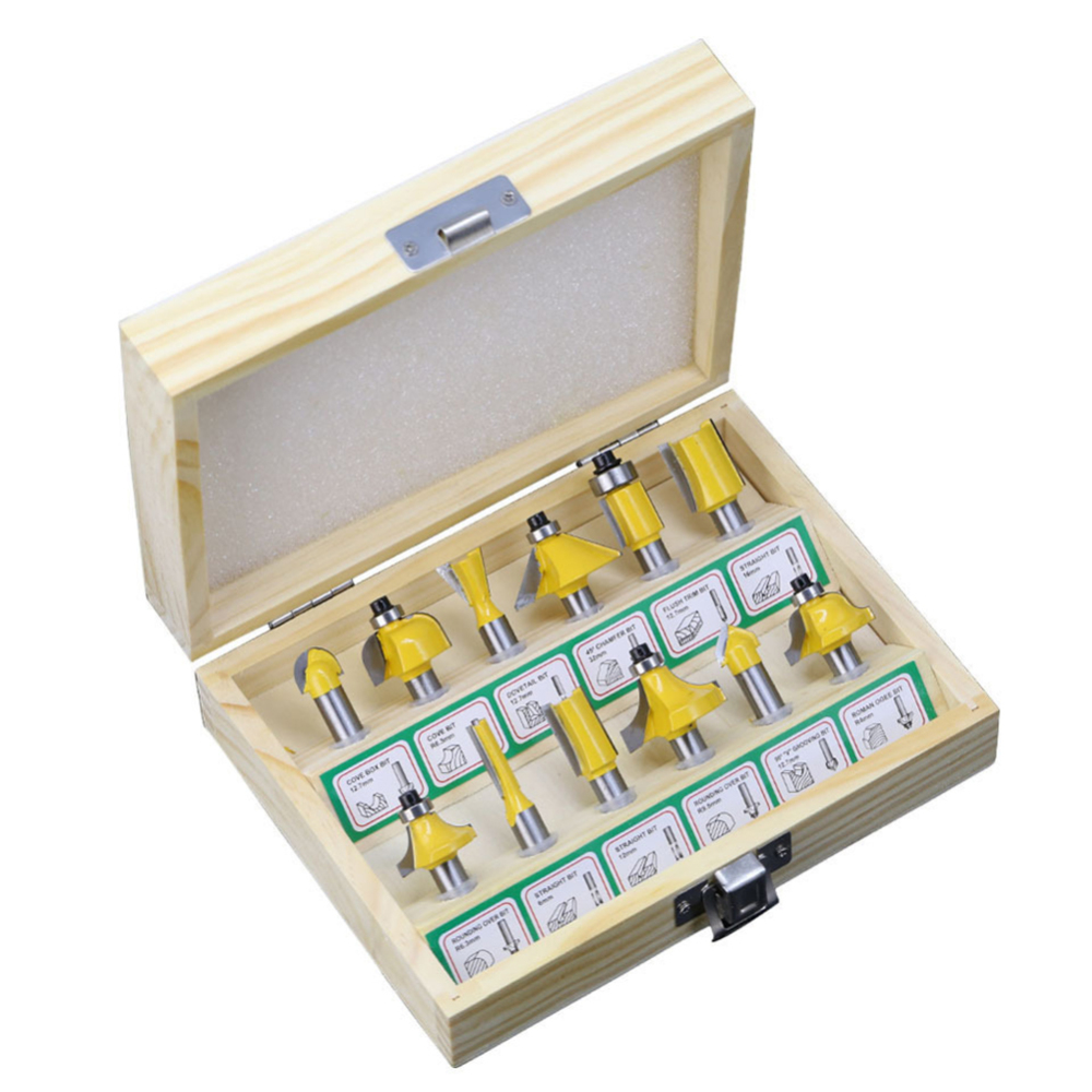 12pcs 8mm Shank Sealed Bearing Router Bits Set Woodworking Milling Cutters