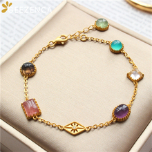 Trendy 925 Sterling Silver Naturanl Gemstone Crystal Women's Bracelet Fine Jewelry Elegant Geometric Gold-plated Bracelets Gift