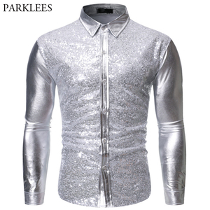 Image 2 - Luxury Red Glitter Sequin Shirt Men Long Sleeve Mens Shiny Disco Party Shirts Casual Slim Fit Stage Dance Prom Costume Chemise