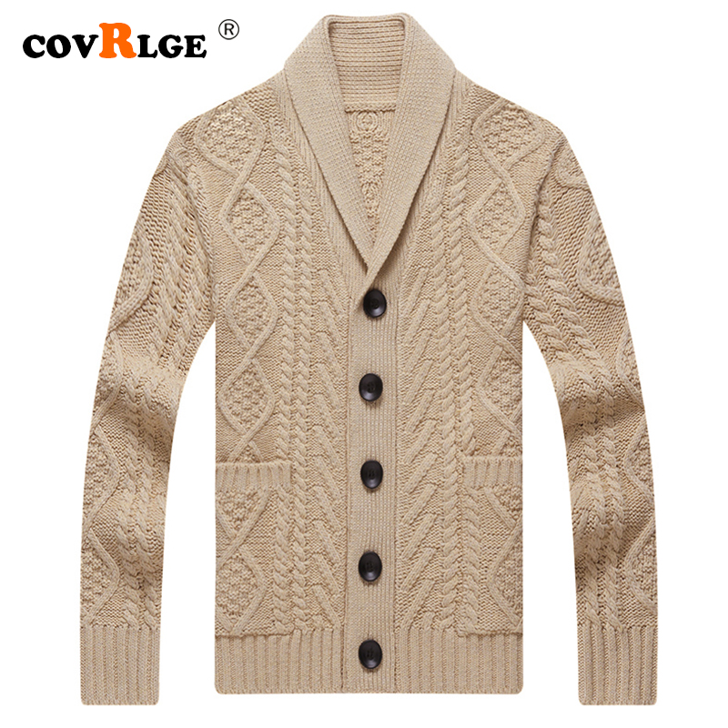 Covrlge Men's Fleece Sweater 2019 Autumn Winter Casual Slim Fit Button Knitted Mens Thick Warm Sweaters Coat Men M-4XL MWK005