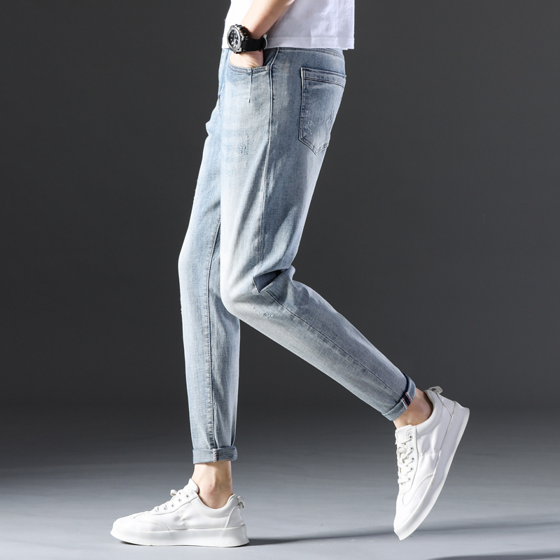 KSTUN Famous Brand Jeans Men White Blue Stretch Relaxed Tapered Pants Leisure Full Length Trousers Good Quality Jeans Male Homme 15