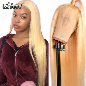 Lemoda 613 Blonde Lace Front Wigs 13x6 Transparent HD Lace Wig 613 Blonde Straight Human Hair Wigs Blonde Wig(China)