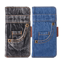 Jeans Lederen Flip Telefoon Case Voor Iphone 11 Vintage Broek Doek Wallet Cover Voor Iphone Xr X Xs 11 Pro max 7 8 6 6S Plus Se 2020(China)