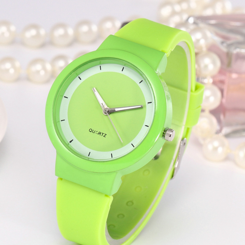 Green Healthy Girl Lady KIds Woman Fashion Casual Silicone Strap Analog Quartz Round Watch Student Clock Cheap Horloge Dames2020