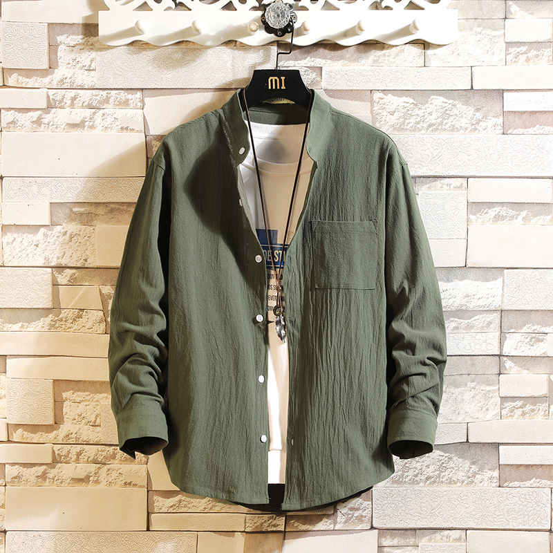 Japan Style Brand Casual LOOSE Shirt For Men Long Sleeve High Quality 2020 Spring Autumn Cotton And Linen GREEN BLACK WHITe