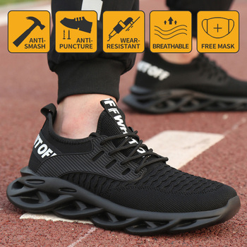 Work Safety Shoes Men Lightweight Breathable Soft Comfortable Steel Toe Work Shoes Anti-smashing Construction Sneaker lightweight breathable men safety shoes steel toe work shoes for men anti smashing construction sneaker
