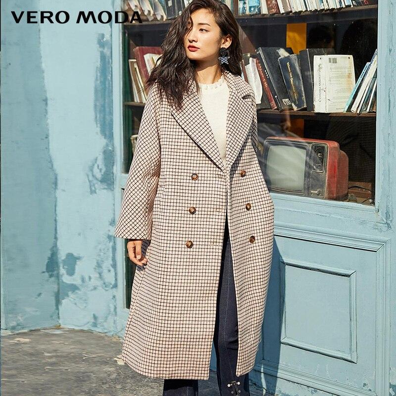 Vero Moda Winter Long Wool Houndstooth Overcoat | 319427512