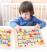 Baby Wooden Numbers Letter Matching Game Board Puzzles Animal Digital Walking Match Labyrinth Slide Puzzle Toys Children Toy