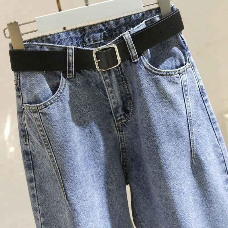 Kore yüksek bel kot kadın Harem pantolon gevşek rahat artı boyutu yüksek sokak Denim pantolon Pantalon Femme Vintage kemer ile B90