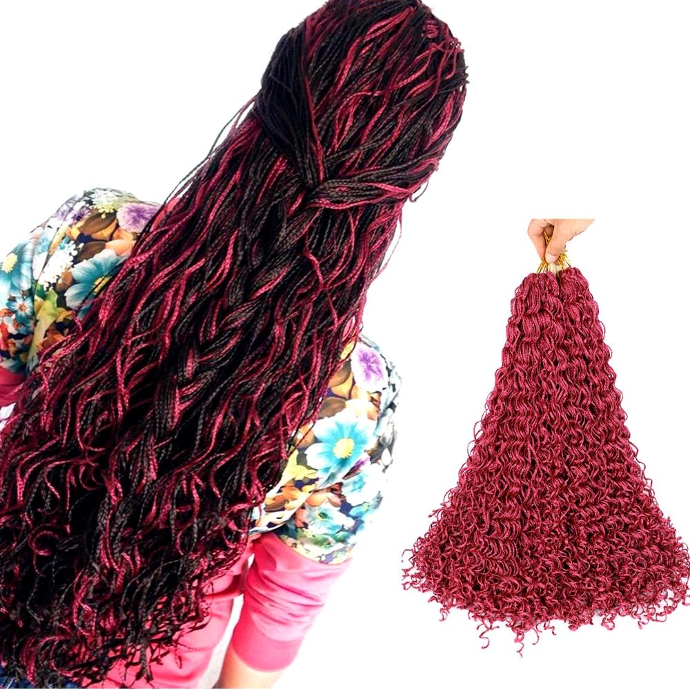 Sallyhair Zizi Braids Crochet Box Braids Colored Synthetic Hair Extensions Brown Blonde Purple Crochet Hair 50Strands/Pack