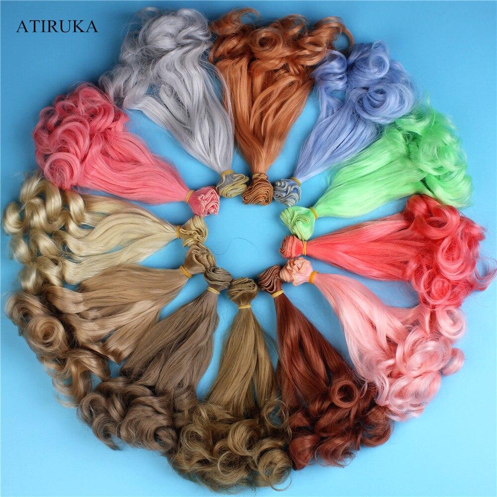 1 peça 20*100cm boneca cabelo bjd peruca acessórios para bonecas de alta temperatura fio para 1/3 1/4 1/6 encaracolado bjd perucas brinquedo do presente do miúdo